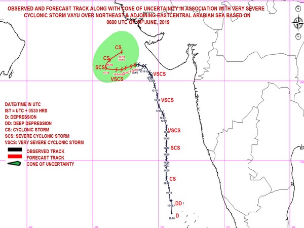 The Vayu system is moving westwards affecting Porbandar and Dwarka (Pic courtesy IMD Twitter)
