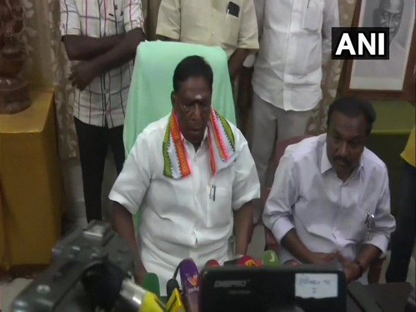 Puducherry Chief Minister V Narayanasamy during a press conference on Thursday. (Photo/ANI)