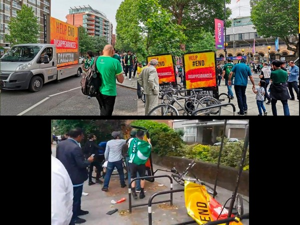 """Vandalizers destroyed the banners highlighting """"Enforced Disappearances in Pakistan"""" outside the Lords Stadium in London on June 24."""