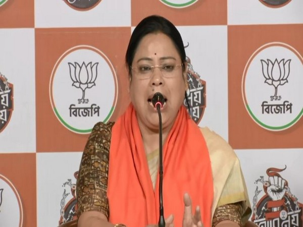 BJP minister Debasree Chaudhari speaking at the press conference on Monday.