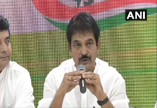 Congress party General Secretary KC Venugopal speaking at a press conference in New Delhi on Thursday.