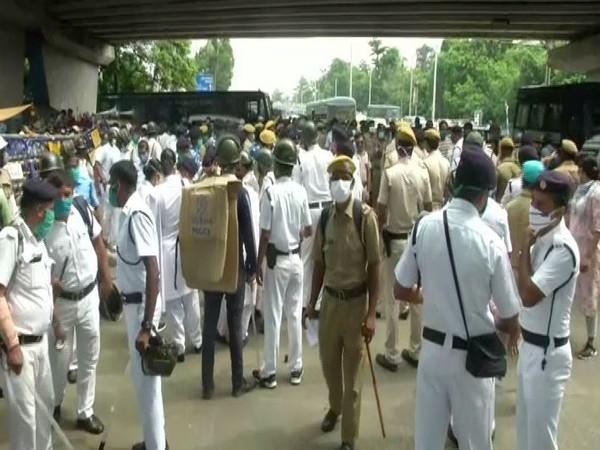 Heavy police deployment outside BJP state headquarters in Kolkata (Photo/ANI)