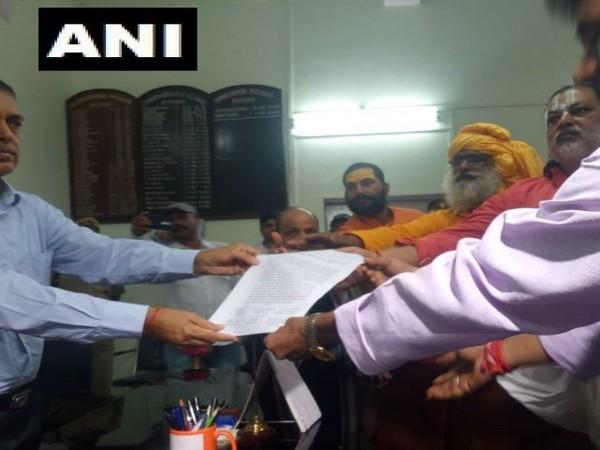 The Vishwa Hindu Parishad handed written application to District Commissioner in Ayodhya in Uttar Pradesh on Monday. Photo/ANI