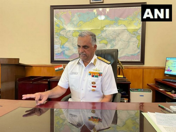Indian Navy Vice Chief Vice Admiral G Ashok Kumar speaking to ANI (Photo/ ANI)