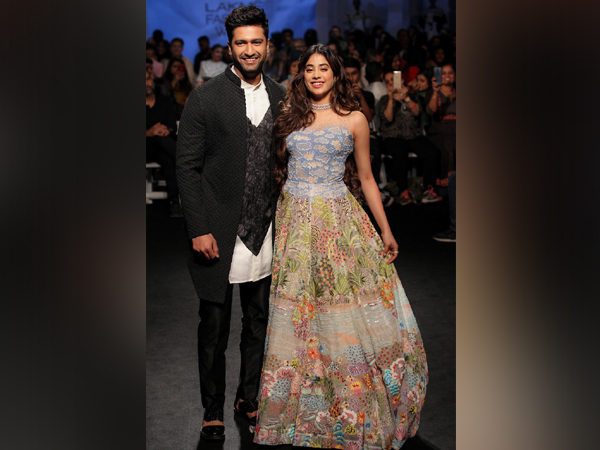 Actors Vicky Kaushal and Janhvi Kapoor at the ramp of Lakme Fashion Week in Mumbai