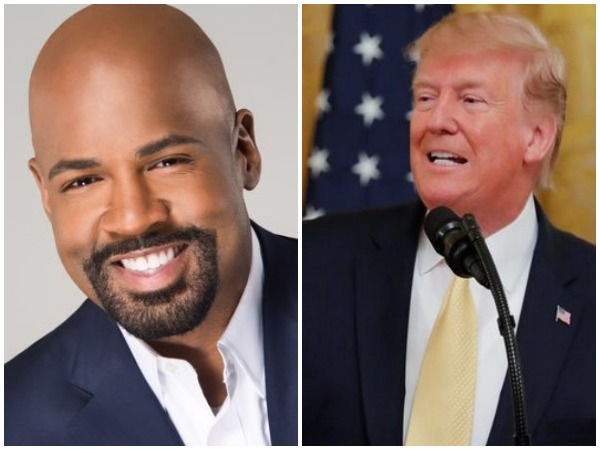 CNN anchor Victor Blackwell (L) US President Donald Trump (R) (Blackwell's photo taken from his Twitter account)