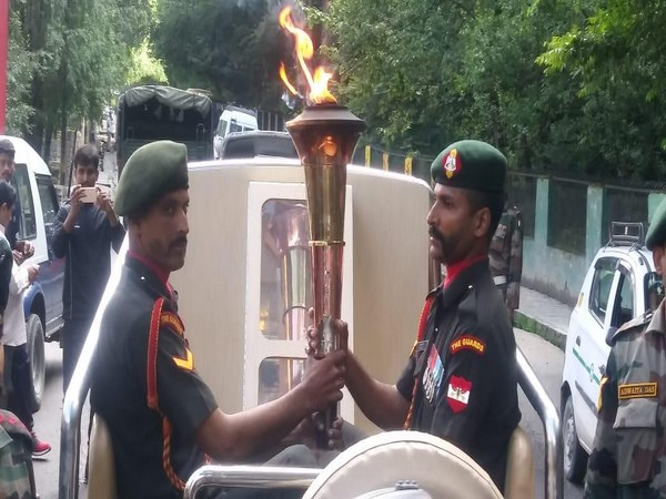 The 'Victory Flame' in Manali town on Saturday. Photo/ANI