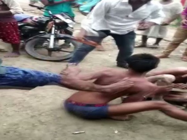 Suspected thieves beaten up by angry locals in UP's Jaunpur on Sunday. Photo/ANI