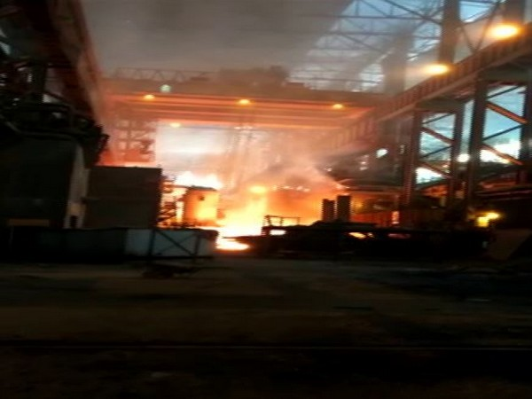 A fire broke out at Visakhapatnam Steel Plant on Thursday. (Photo/ANI)