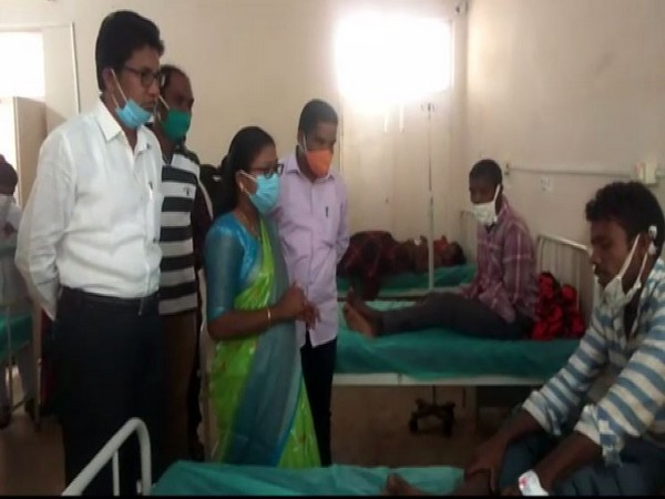 Paderu MLA K. Bhagya Laxmi visits hospital to check on persons affected by food poisoning. (Photo/ANI)