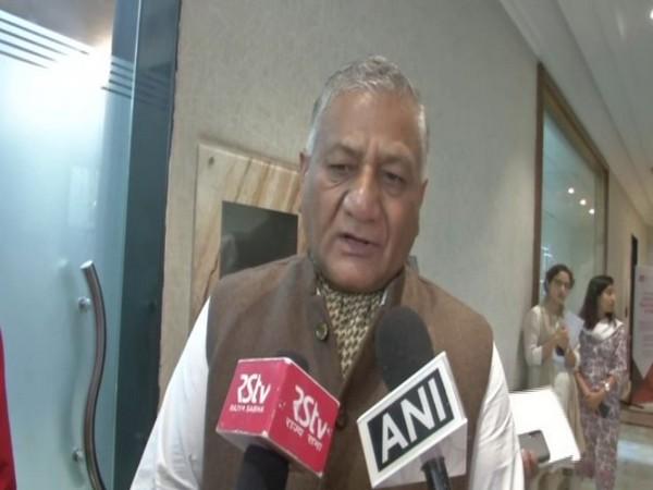 Union Minister General Vijay Kumar Singh speaks to media in New Delhi [Photo/ANI]