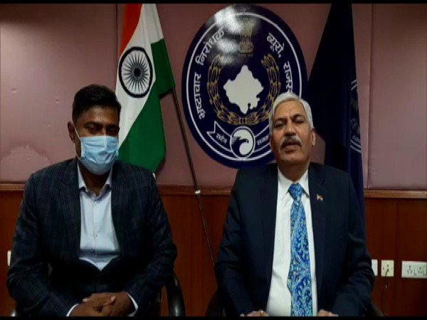 Anti-Corruption Bureau's Director General B L ( at Right side) Soni addressing about a case on Tuesday. (Photo/ ANI)