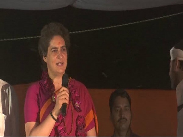Congress leader Priyanka Gandhi Vadra addressing a gathering in Mirzapur on Tuesday. Photo/ANI