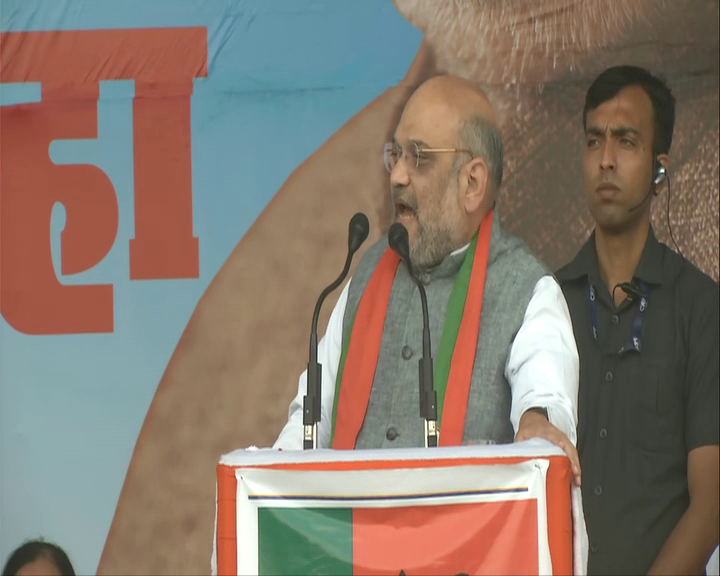 BJP president Amit Shah addressing an election rally in Nagpur on Tuesday. Photo/ANI