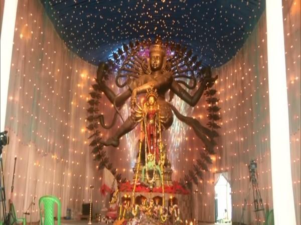 Idol of goddess Durga at the Chetla Agrani Puja Pandal in Kolkata. (Photo/ANI)