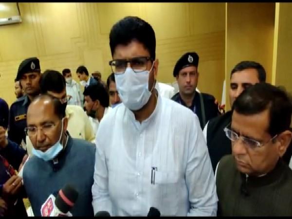 Haryana Deputy Chief Minister Dushyant Chautala speaking to media in Faridabad. (Photo/ANI)