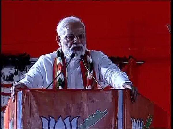 Prime Minister Narendra Modi addressing a gathering in Vishakhapatnam on Friday. Photo/ANI