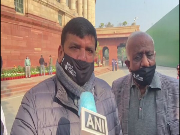 AAP MP Sanjay Singh speaking to ANI on Wednesday. (Photo/ANI)