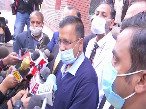 Delhi Chief Minister Arvind Kejriwal speaking to the media at the LNJP hospital. (Photo/ANI)