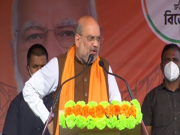 Union Home Minister Amit Shah speaking at West Bengal's Basirhat Dakshin assembly constituency. (Photo/ANI)
