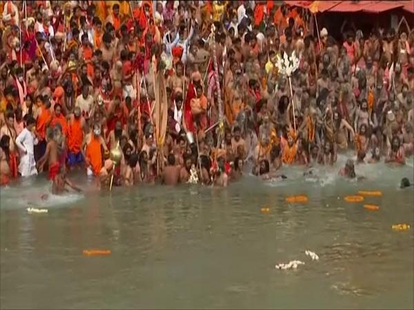 Sadhus of various akharas taking part in the 'shah snan' at Har Ki Pauri in Haridwar.