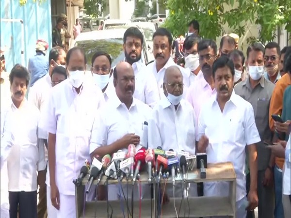AIADMK leaders speaking to media in Chennai on Saturday. (Photp/ANI)