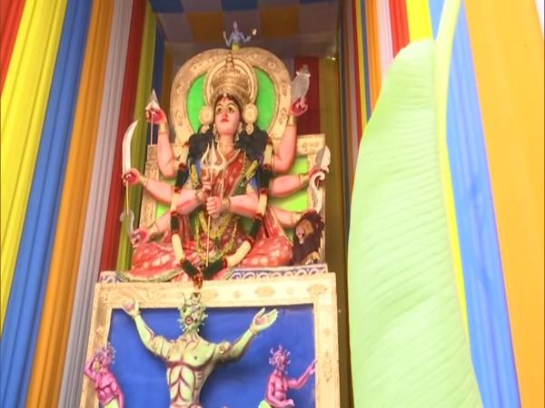 A 31-foot idol of goddess Durga killing COVID-19. (Photo/ANI)