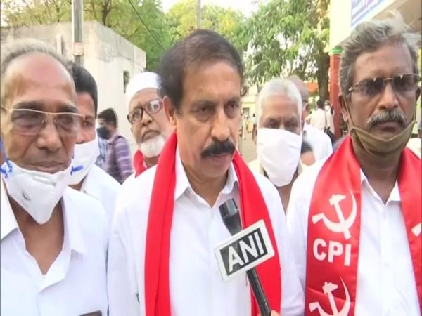 Communist Party of India state secretary K Ramakrishna speaks with ANI on Tuesday. (Photo/ANI)