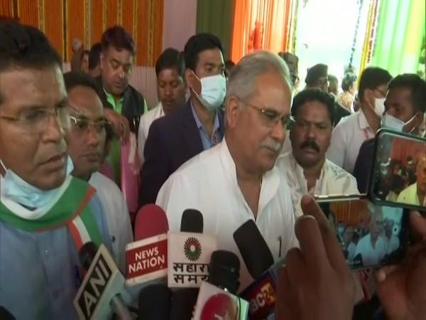 Chhattisgarh Chief Minister Bhupesh Baghel speaking to reporters in Kondagaon on Wednesday. (Photo/ANI)