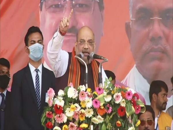 Union Home Minister Amit Shah on Saturday addressing rally at Paschim Medinipur in West Bengal. (Photo/ ANI)