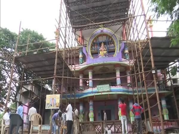 Preparations underway for Ganesh Chaturthi at the Khairtabad Bada Ganesh in Hyderabad. (Photo/ANI)