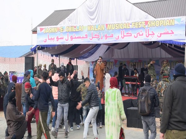 People dancing at the Chillai Music festival in Shopian. (Photo/ANI)