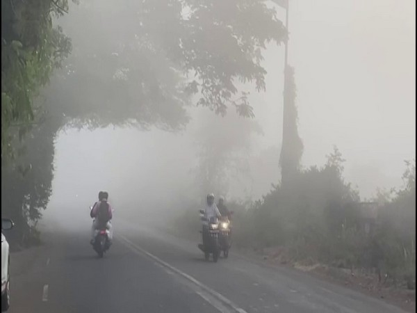 A thick blanket of fog engulfed isolated areas of Nashik district's Deolali camp area. (Photo/ANI)