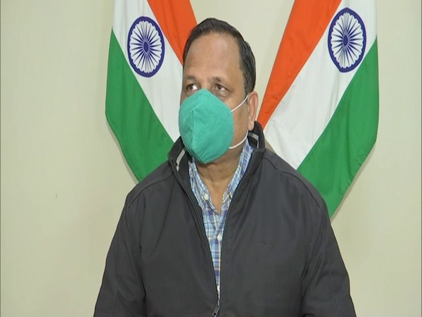 Delhi Health Minister Satyendar Jain talking to media on Thursday. (Photo/ANI)