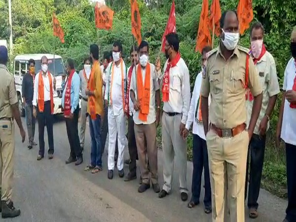 Coal workers in Telangana raised slogans against auction of coal blocks to private parties. (Photo/ANI)