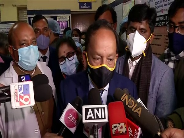 Union Health Minister Dr Harsh Vardhan on Saturday talking to media at Daryaganj primary health centre in Delhi.