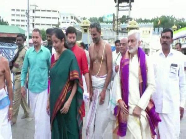 Nirmala Sitaraman while visitingTirumala temple