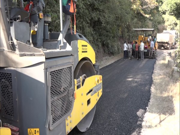 Construction of the road in Udhampur's Badole village. (Photo/ANI)