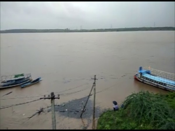 The Godavari river in Telangana water levels reached 45 feet on Saturday, 2 feet above the first danger level. (Photo/ANI)