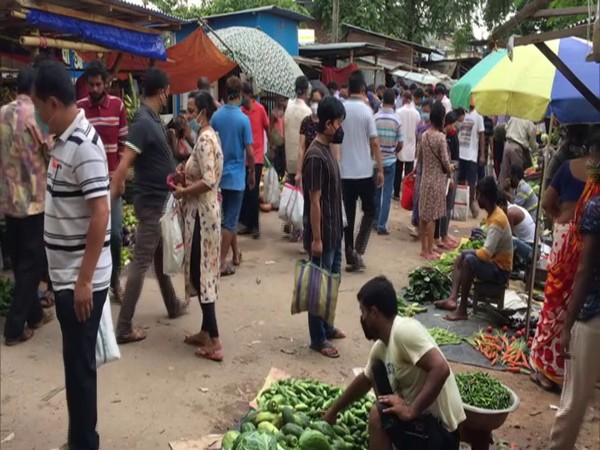 Markets in Agartala were packed on Sunday morning after the state government declared a three-day total lockdown. (Photo/ANI)