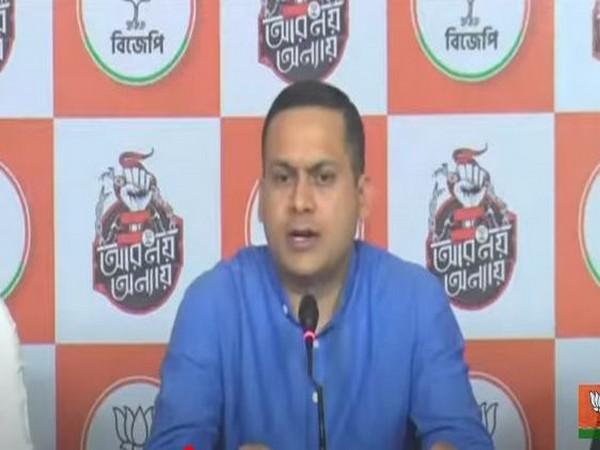 BJP information and technology cell head Amit Malviya addressinh a press conferance.