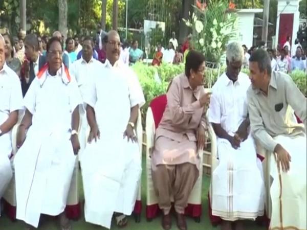 Puducherry Guv Kiran Bedi and CM V Narayanasamy at an event in RajNivas on Sunday