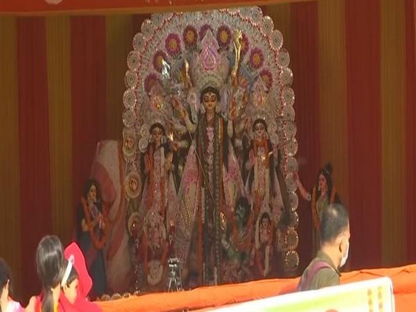 Goddess Durga idol in Delhi. (Photo/ANI)
