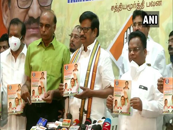 Visual of Tamil Nadu Congress chief KS Alagiriat releasing the party manifesto at TN Congress headquarters in Chennai