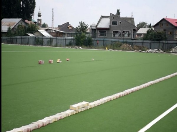 Jammu and Kashmir's first AstroTurf hockey stadium in Pulwama. (Photo/ANI)