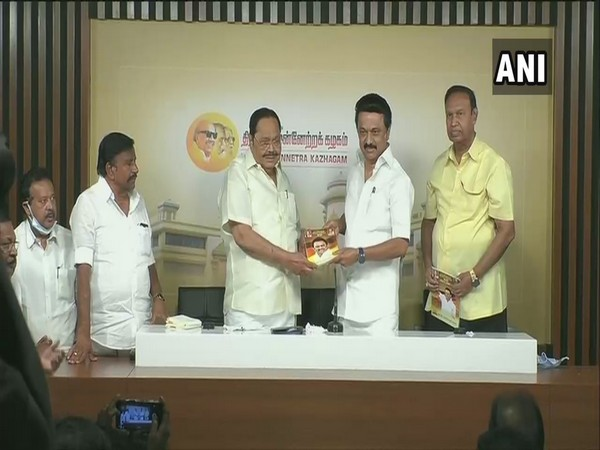 Visual of DMK President MK Stalin releasing party manifesto