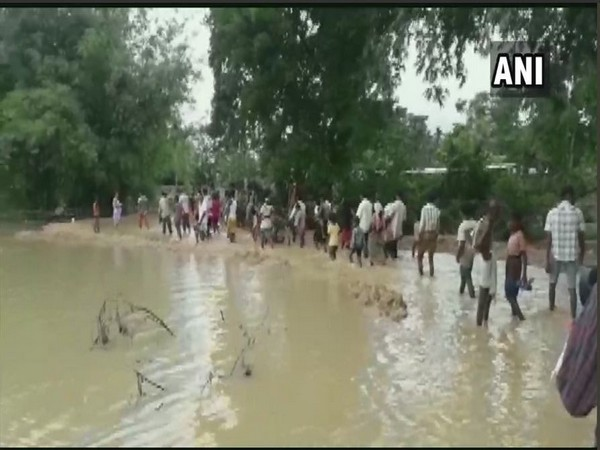 Flood-affected area in Golaghat district. Photo/ANI