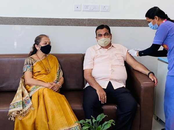 Visual of Union Road Transport and Highways Minister Nitin Gadkari taking first dose of COVID-19 vaccine
