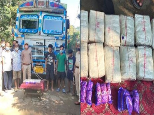 20 packets of yaba tablets were seized from a truck by Assam Police. Photo/ANI