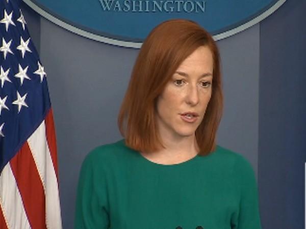 White House spokesperson Jen Psaki talking to reporters on Monday. (Photo Credit: White House)